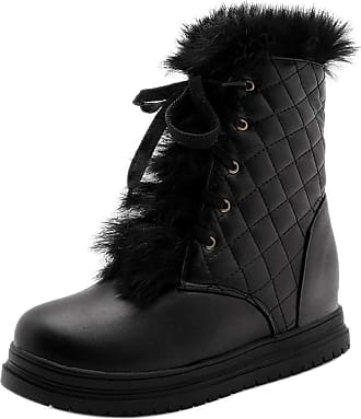 RAZAMAZA Women Casual Wedge Heel Winter Boots Warm Lined Round Toe School Boots Collar Lace Up Ankle Boots Black Size 43 Asian