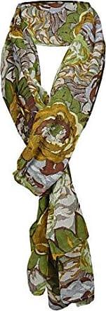 Tuch Schal Baumwolle 180 cm x 50 cm Damen Halstuch grün oliv Blumenmuster Gr
