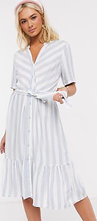 Jacqueline de Yong midi dress with ruffle hem in blue stripe-Multi