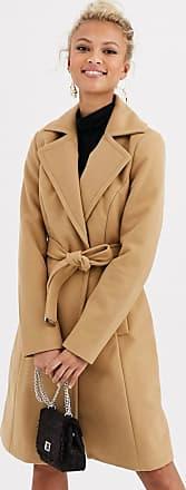 Lipsy Cappotto in misto lana cammello con allacciatura-Beige