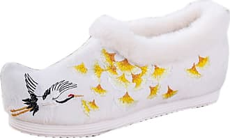 ICEGREY Womens Chinese Style Embroidered Mary Jane Shoes Fleece Loafers White-Crane 5.5