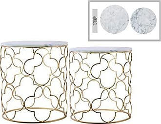 Urban Trends Collection Urban Trends Round Nesting Accent Table with Marble Top and Lattice Quatrefoil Design Body Metallic Finish Gold