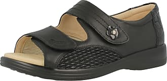 Padders Ladies Super Wide Fitting Leather Black Combi Sandals - Grace Size 6 UK