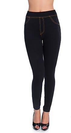 FUTURO FASHION Womens High Wastied Denim Look Leggings Stretchy Jeans Skinny Jeggings DS8015 Black