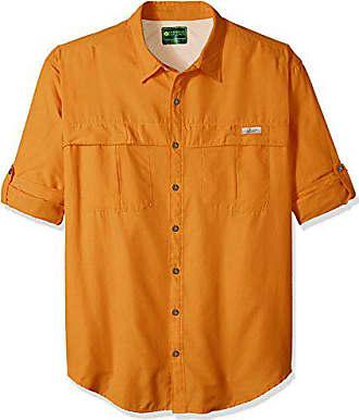 G.H. Bass & Co. Mens Big and Tall Explorer Survivor Long Sleeve Point Collar Fishing Shirt, Orange Harvest, X-Large Tall