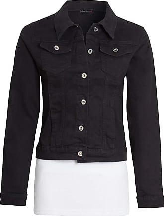 Shelikes Womens Ladies Button Up Denim Blue Long Sleeve Jacket UK[Black UK 14]