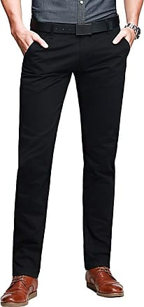 OCHENTA Mens Casual Slim-Tapered Flat-Front Trousers Black Lable 38