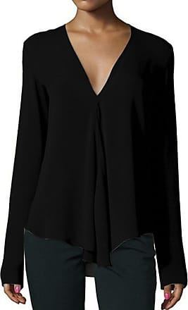 NPRADLA Womens 2020 Autumn Casual Loose V Neck Long Sleeve Solid Blouses Shirts Tops Black
