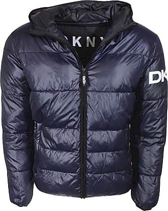 DKNY Mens Water Resistant Ultra Loft Hooded Logo Puffer Jacket Down Alternative Coat, Navy, XL