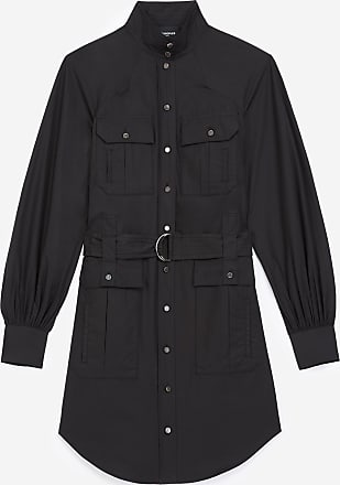 The Kooples Belted black cotton dress with pockets - WOMEN
