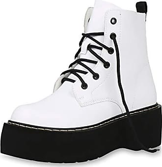 Damen Stiefeletten Plateau Boots Weiß