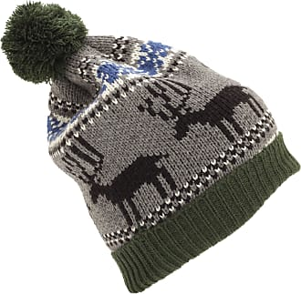 Universal Textiles Mens Reindeer Design Christmas Chunky Bobble Hat (One Size) (Green)