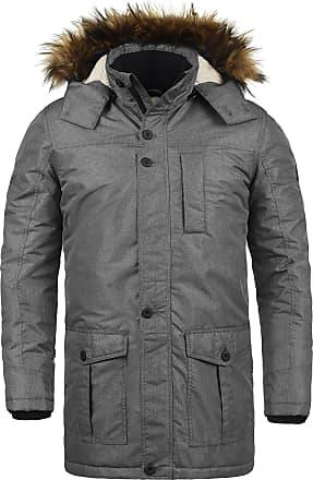 Solid Octavus Mens Parka Outdoor Jacket Winter Coat with Teddy Fleece and Fur Hood with Hood, Size:M, Colour:Dark Grey Melange (8288)