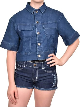 True Face Ladies Denim Jacket Casual Button Front Stretch Trendy Stylish Cropped Top Blue Large