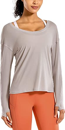 CRZ YOGA Womens Lightweight Heather Workout Long Sleeve Yoga Shirts Sports Tops with Thumbholes Heathered Dark Chrome 10