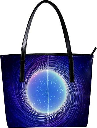 Nananma Womens Bag Shoulder Tote handbag with Blue Shining Cosmic Neon Light Twirl Print Zipper Purse PU Leather Top-handle Zip Bags