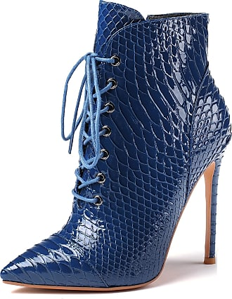 EDEFS Womens Ponited Toe Ankle Boots Lace Up Zipper Boots High Heel Winter Shoes Blue EU45