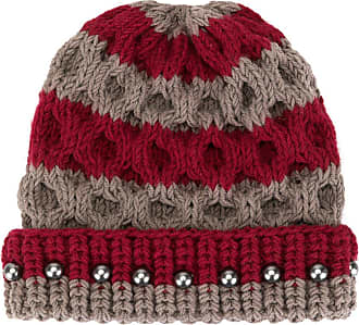 0711 crystal bead knit beanie - Grey