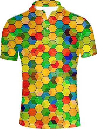 Hugs Idea Colorful Geometric Designs Mens Classic Uniforms Pique Sport Shirst Soft T-Shirt Tee Short Sleeve Tops