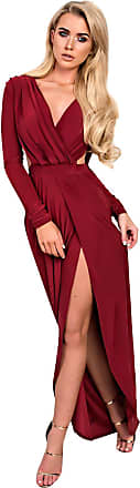 Ikrush Mitra Bodycon Maxi Dress Wine UK 8