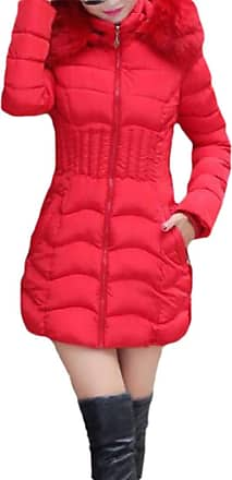 H&E Womens Cotton-Padded Quilted Faux Fur Collar Puffer Hooded Parkas Coat Red M