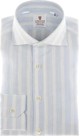 Cordone 1956 Camicia sartoriale Mod. Linen Big Stripes Azure And White - Tessuto lino - Colore azure - Taglia 36