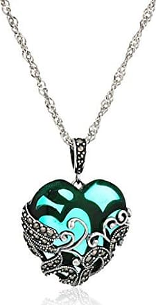 Amazon Collection Sterling Silver Oxidized Genuine Marcasite and Emerald Colored Glass Filigree Heart Pendant Necklace, 18