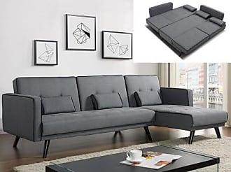 Venta-Unica.com Sofá cama modular CALOBRA tapizado de tela - Gris claro