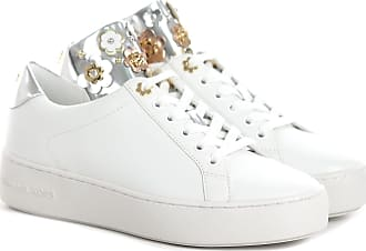 Michael Kors SNEAKER MINDY IN PELLE CON FIORI 25 colore BIANCO-ARGENTO b57f8d881af