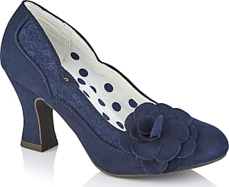 New Womens Ruby Shoo Navy Sonia Textile Shoes Heels Slip On