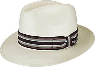 8cb5ebf22 Bailey Mens Creel Straw Fedora Trilby Hat with Striped Band