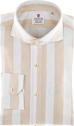 Cordone 1956 Camicia sartoriale Mod. Giro Inglese Big Stripes Beige - Tessuto cotone - giro inglese - Colore bianca - Taglia 36