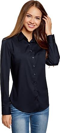 oodji Womens Basic Shirt with One Pocket, Blue, UK 14 / EU 44 / XL