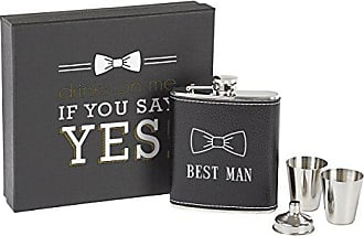 Cathy's Concepts Best Man Leather Wrapped Flask Set, Black