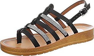 Ital-Design Riemchensandalen Damen-Schuhe Flach Strass Besetzte Schnalle  Sandalen   Sandaletten Schwarz, a4bee3c86f