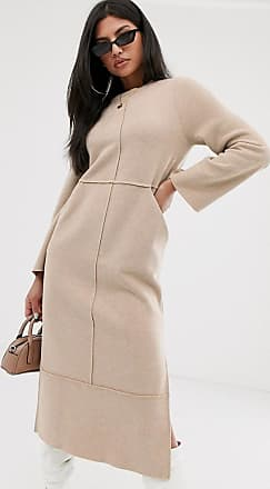 Asos super soft exposed seam patch pocket midi dress in camel-Beige