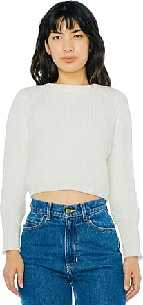 American Apparel Womens Cropped Fisherman Long Sleeve Pullover Sweater, Ivory, X-Small