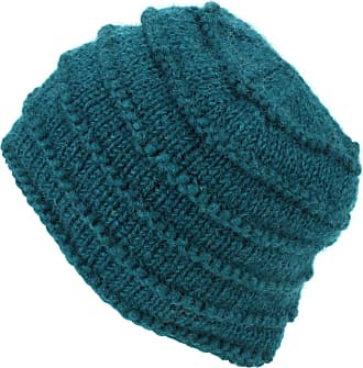 Loud Elephant Chunky Ribbed Wool Knit Beanie Hat with Space Dye Design - Teal