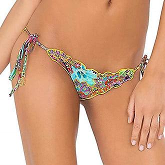 Luli Fama Womens Tornasol Crystallized Wavey Brazilian Bikini Bottom, Multi, X-Small