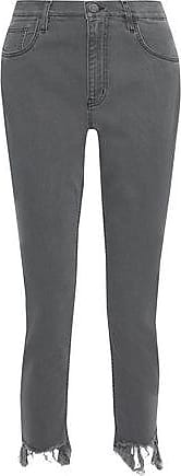 Mih Jeans M.i.h Jeans Woman Mimi Cropped Distressed High-rise Slim-leg Jeans Anthracite Size 26