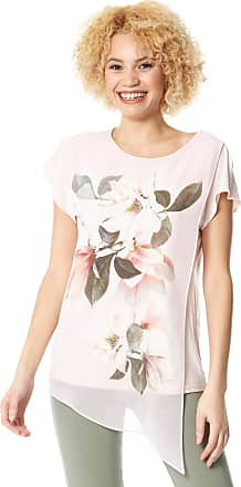 Roman Originals Women Asymmetric Chiffon Overlay Floral Top - Ladies Spring Summer Round Short Sleeves Smart Casual Everyday Special Occasion Tops - Pink - Size 14