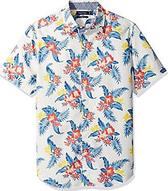 Nautica Mens Short Sleeve Signature Print Button Down Shirt, Mystic Grey, Medium