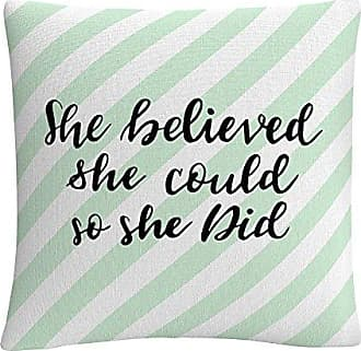 Trademark Fine Art ABC0013-PIL1616 ABC She Believed She Could Green 16 X 16 Decorative Throw Pillow Multicolor