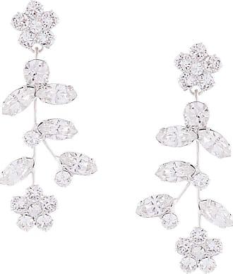 Jennifer Behr Par de brincos Andrea com cristal floral - Branco