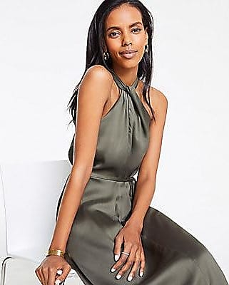 ANN TAYLOR Knotted Halter Maxi Dress