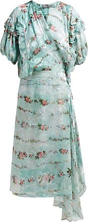 Preen Ashley Floral Print Silk Devoré Wrap Dress - Womens - Light Blue