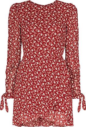 Reformation Vestido envelope Lucita com cinto e estampa floral - Vermelho