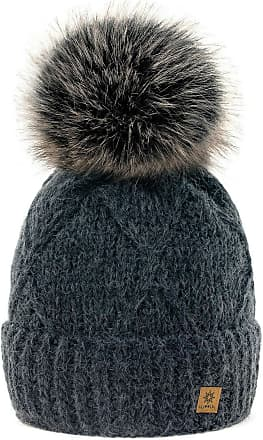 4sold Womens Ladies Beanie Hat Pom Pom Warm Winter Natural Wool Mohair Lining Full Cosy Fleece Liner (Birma Gark Grey)