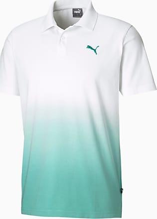 Puma Dyed Mens Polo Shirt, White/Blue Turquoise, size X Large, Clothing
