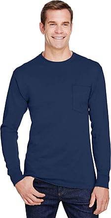 Hanes Mens Workwear Long Sleeve Pocket T-Shirt (W120) -NAVY -XL